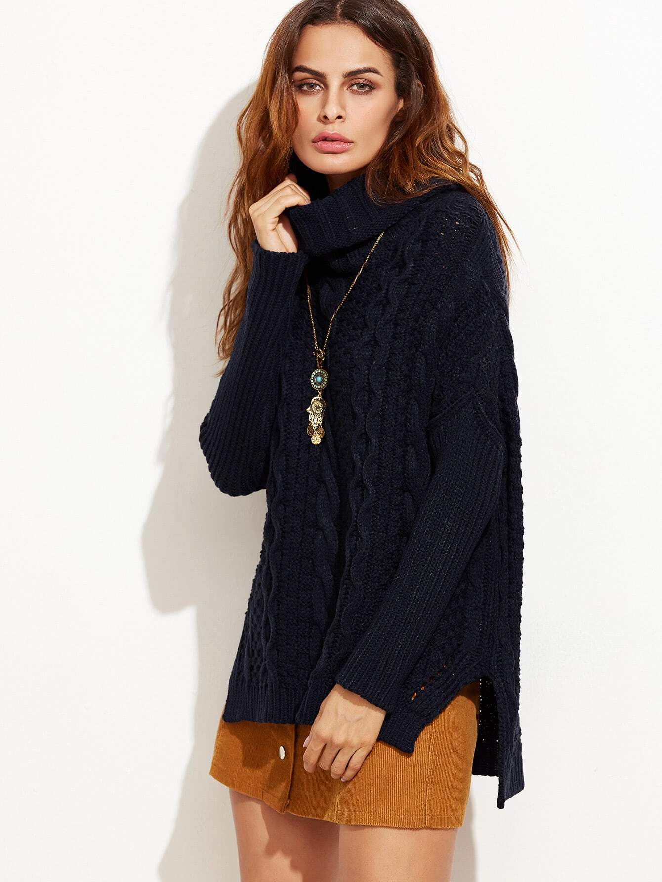 Navy Cable Knit Cowl Neck High Low Sweater -SheIn(Sheinside)