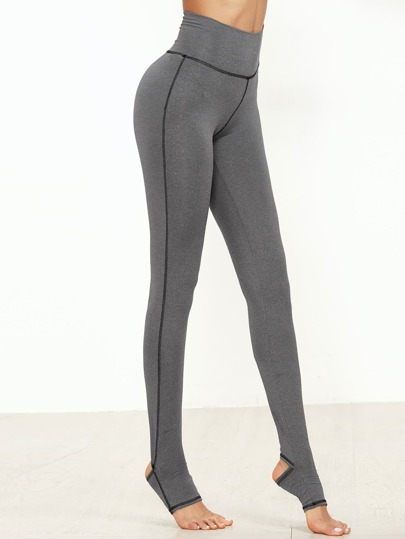 Marled Knit Topstitch Stirrup Leggings