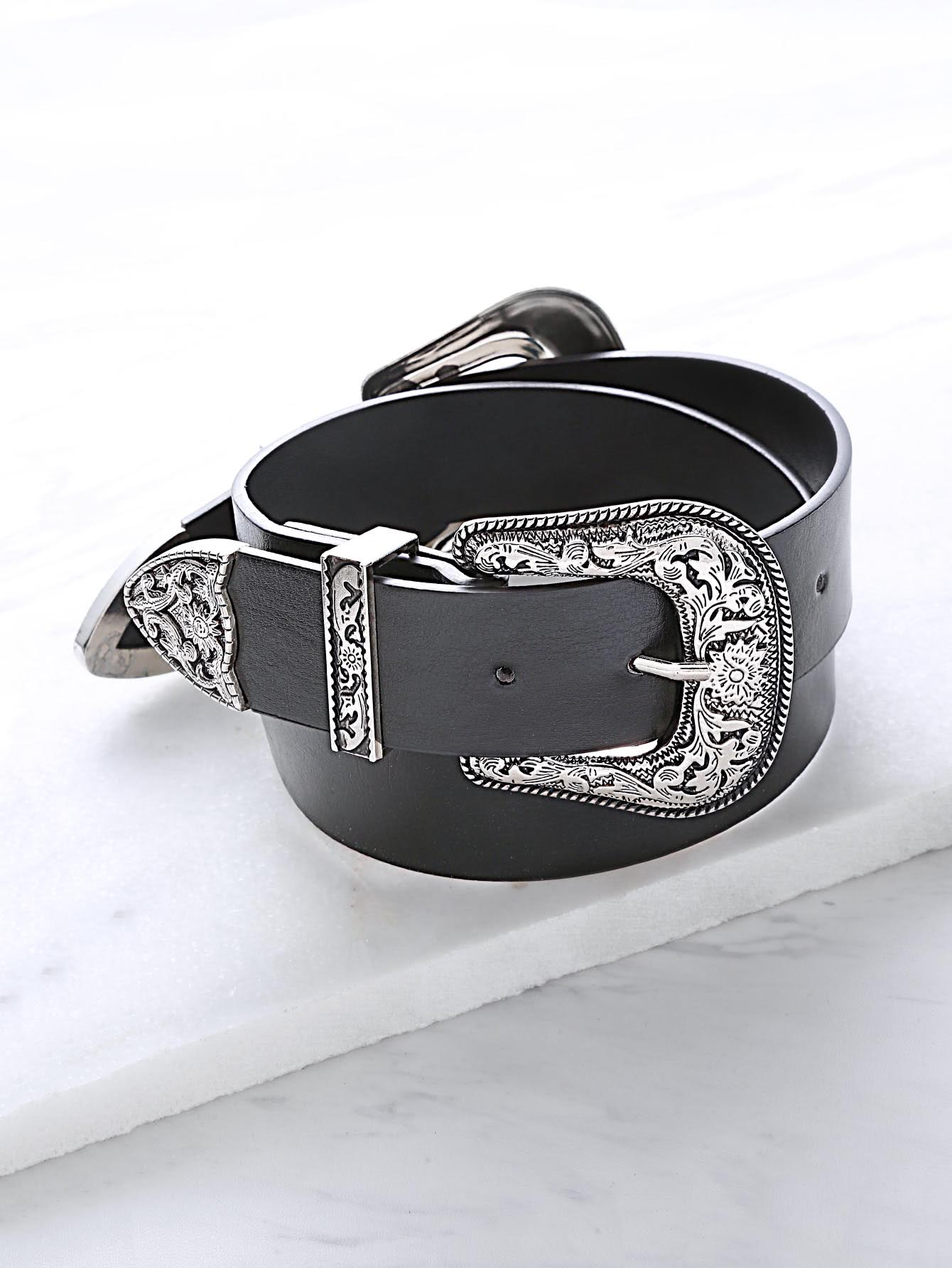 Image of Black Double Vintage Carved Buckle Belt