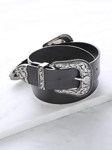 Cinturón vintage con hebilla tallada - negro