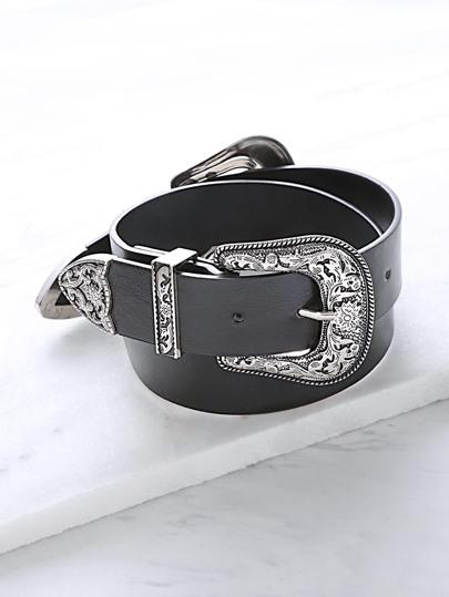 Black Double Vintage Carved Buckle Belt