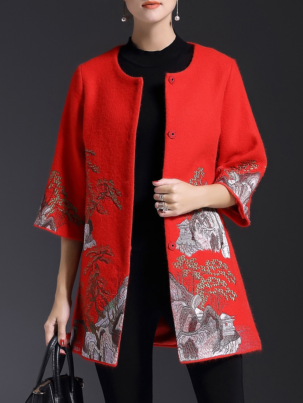 Red Crew Neck Embroidered Pockets Coat coat161117619