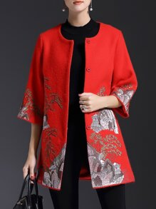 Red Crew Neck Embroidered Pockets Coat