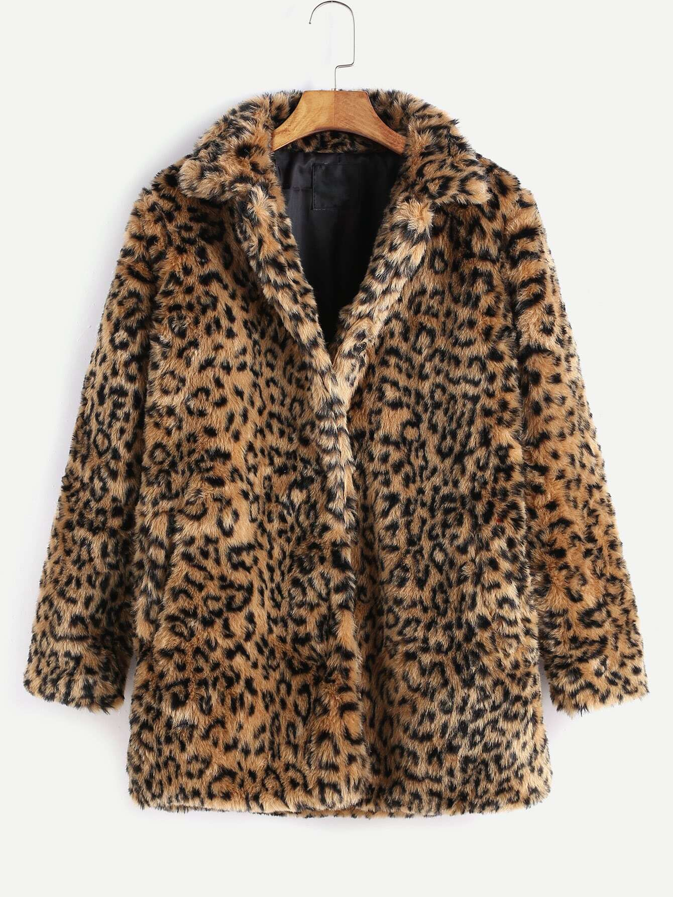 Leopard Button Up Faux Fur Coat -SheIn(Sheinside)