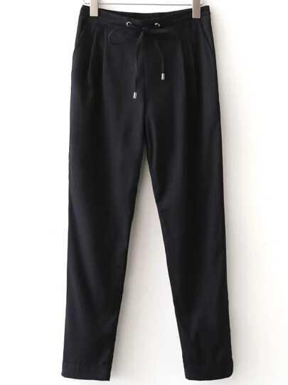Black Vertical Striped Drawstring Waist Pants