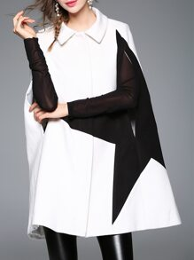 White Shirt Collar Star Print Cape Coat