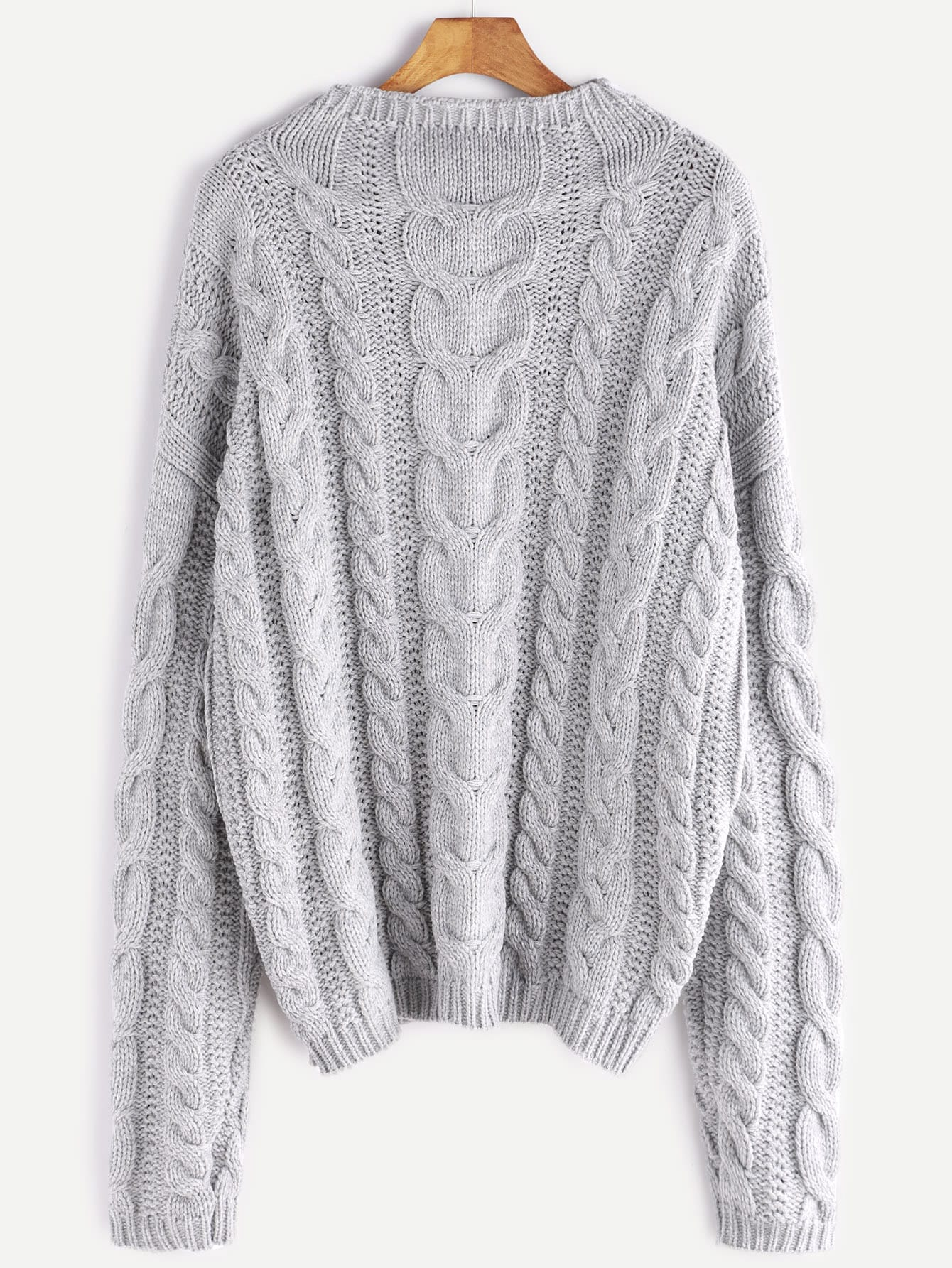 Grey Funnel Neck Cable Knit Chunky SweaterGrey Funnel Neck Cable Knit Chunky Sweater<br><br>color: Grey<br>size: one-size