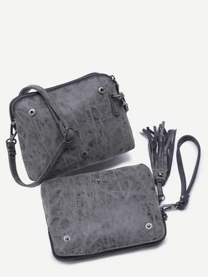 Grey PU Tassel Trim Docking Button 2Pcs Bag Set