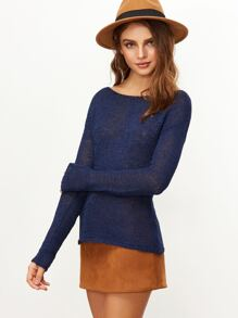 Navy Boat Neck Loose Knit Sweater