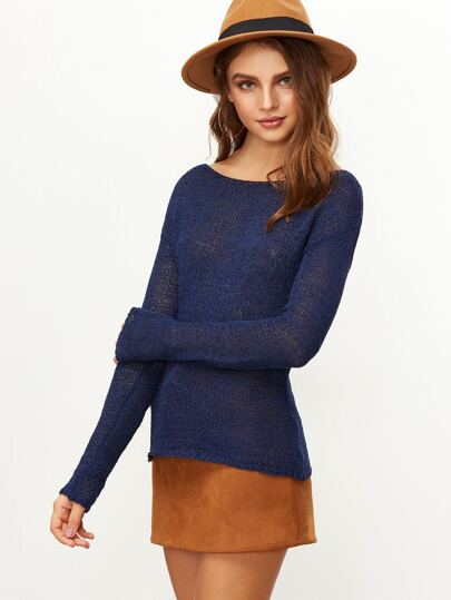 Pull tricoté lâché à col bateau -bleu marine