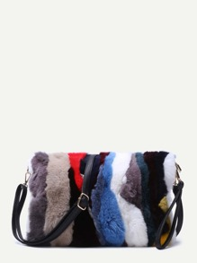 Color Block Vertical Striped Rabbit Fur Shoulder Bag