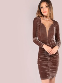 Plunging V Sleeved Ruched Velvet Dress BROWN