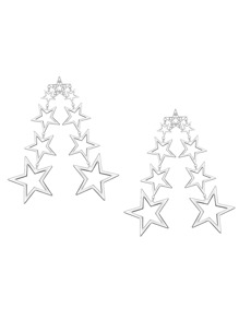 Silver Plated Hollow Out Star Statement Drop Earrings