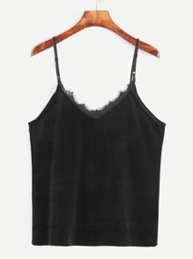 Black Velvet Eyelash Lace Trim Cami Top