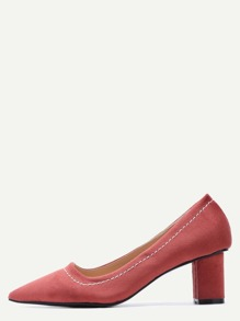 Brick Red  Point Toe Suede Heeled Pumps