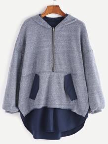 Blue Marled Knit Half Zip Drop Shoulder Curved Trim Hoodie