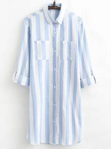 Blue Vertical Striped Shirt Dress With Pocket