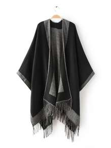 Black Contrast Edge Long Fringe Shawl Scarf