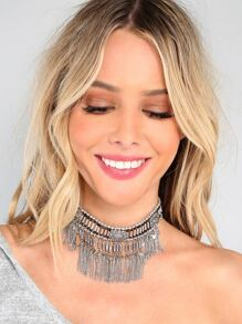 Tribal Inspired Charm Choker Necklace SILVER