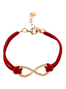 Red Double Layer Infinity Symbol Charm Bracelet