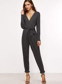 Heather Grey Surplice Front Belted Tapered Jumpsuit