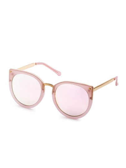 Pink Frame Metal Trim Cat Eye Sunglasses