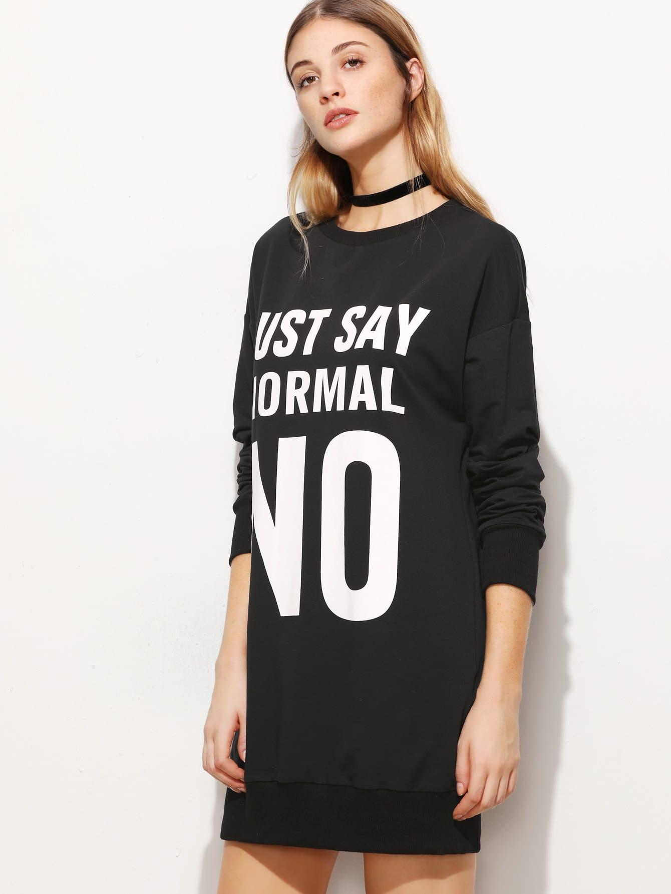 Фото Letter Print Drop Shoulder Sweatshirt Dress. Купить с доставкой