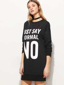 Black Letter Print Drop Shoulder Sweatshirt Dress