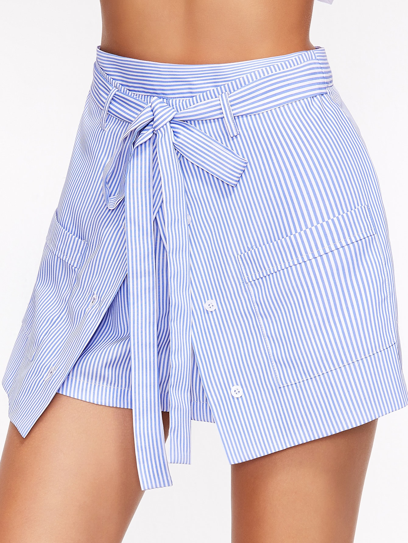 Фото Striped Buttoned Overlap Front Belted Shorts. Купить с доставкой