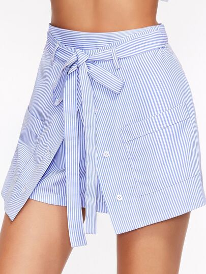 Striped Buttoned Overlap Front Belted Shorts
