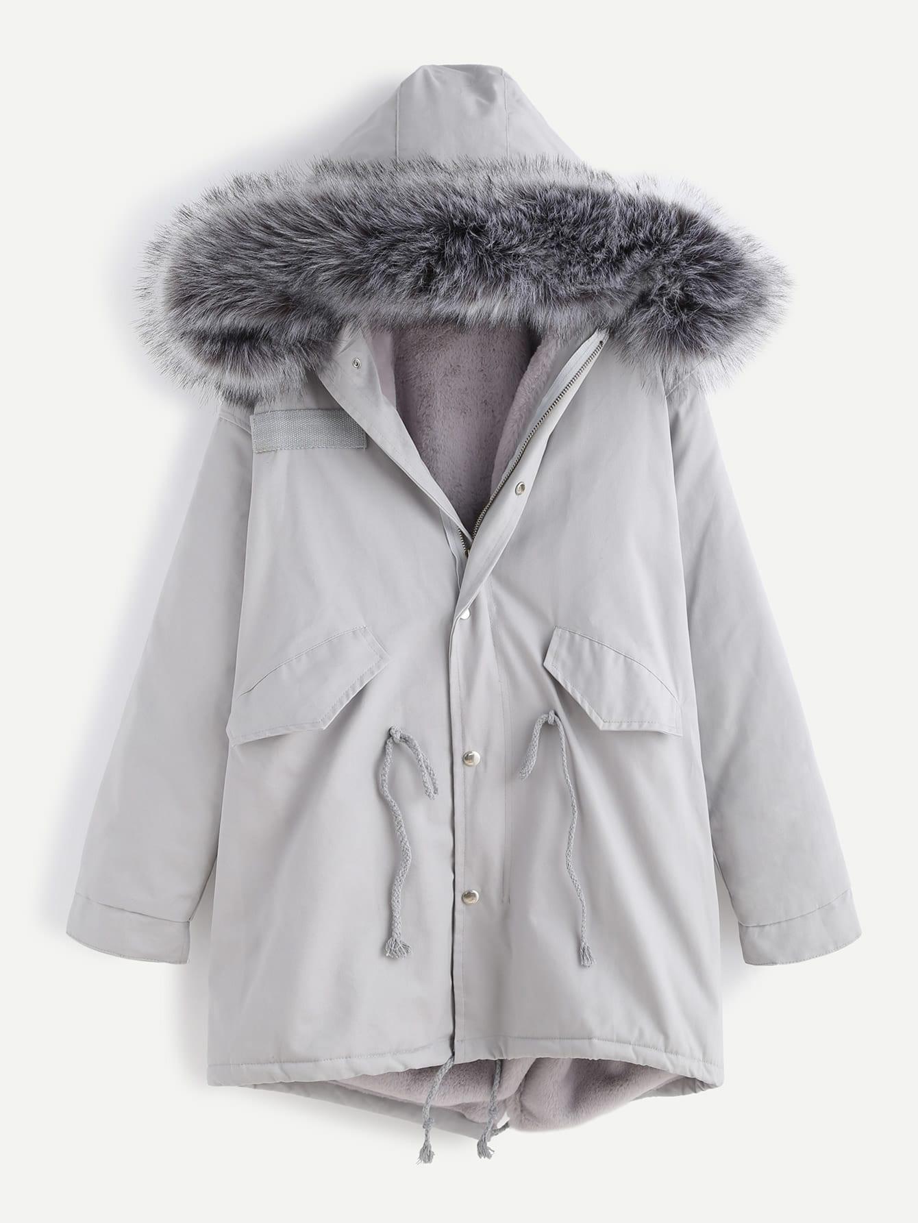 Grey Faux Fur Trim Drawstring Fleece Inside Hooded Coat