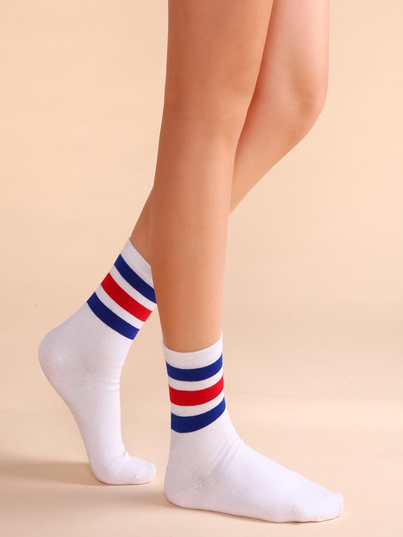 White Colored Stripe Trim Casual Crew Socks