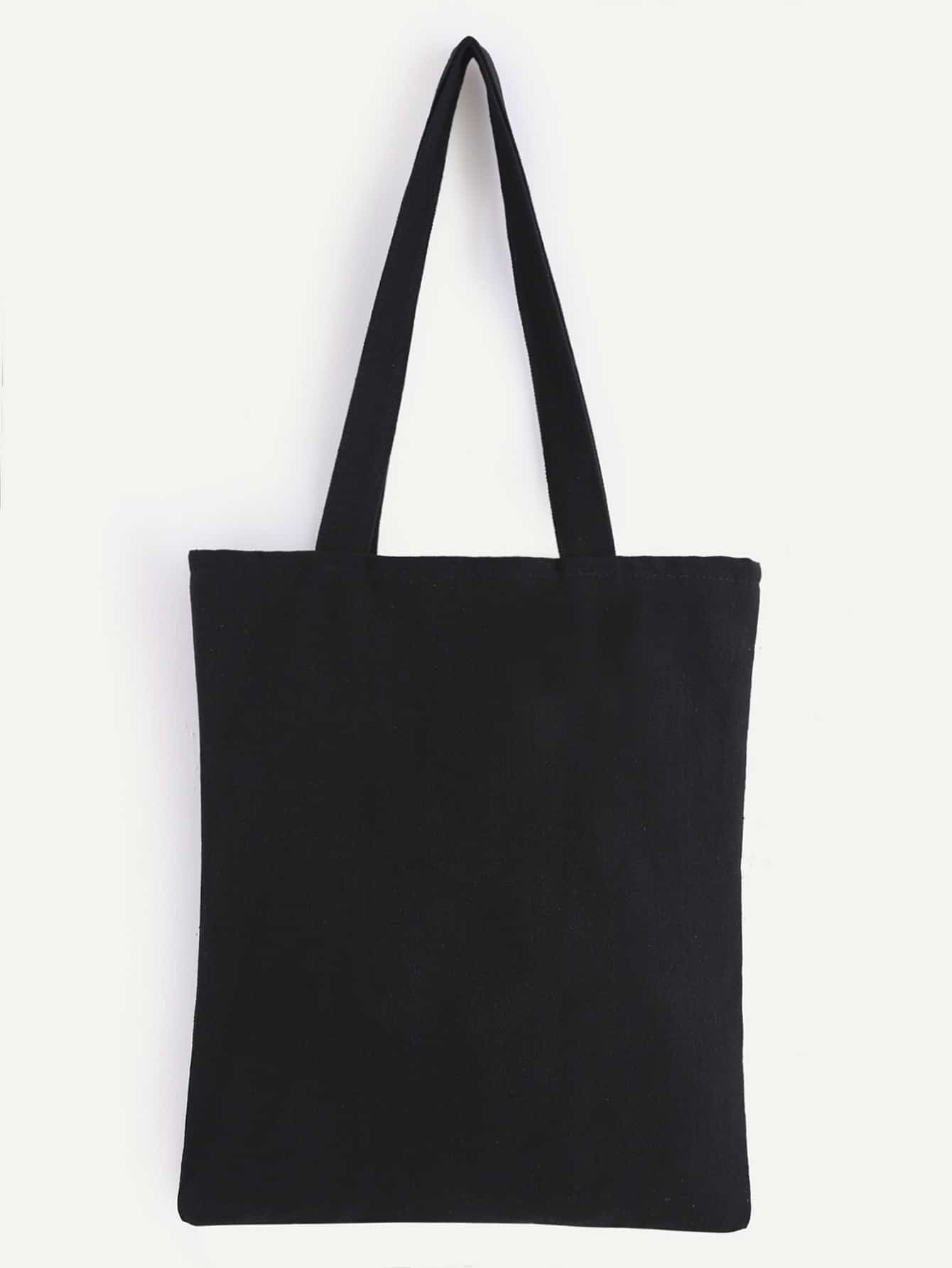 double layer black plain canvas tote bag shein sheinside. Black Bedroom Furniture Sets. Home Design Ideas