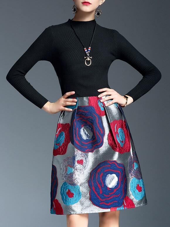 Фото Black Knit Jacquard Combo Dress. Купить с доставкой