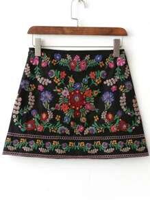 Jupe mini avec broderie floral - noir