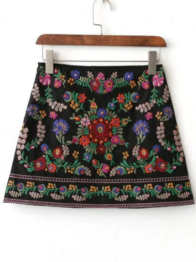 All Over Floral Embroidered Skirt