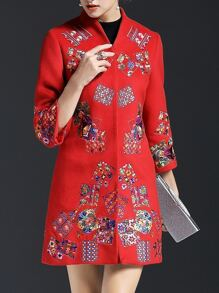 Red Flowers Embroidered Pockets Coat