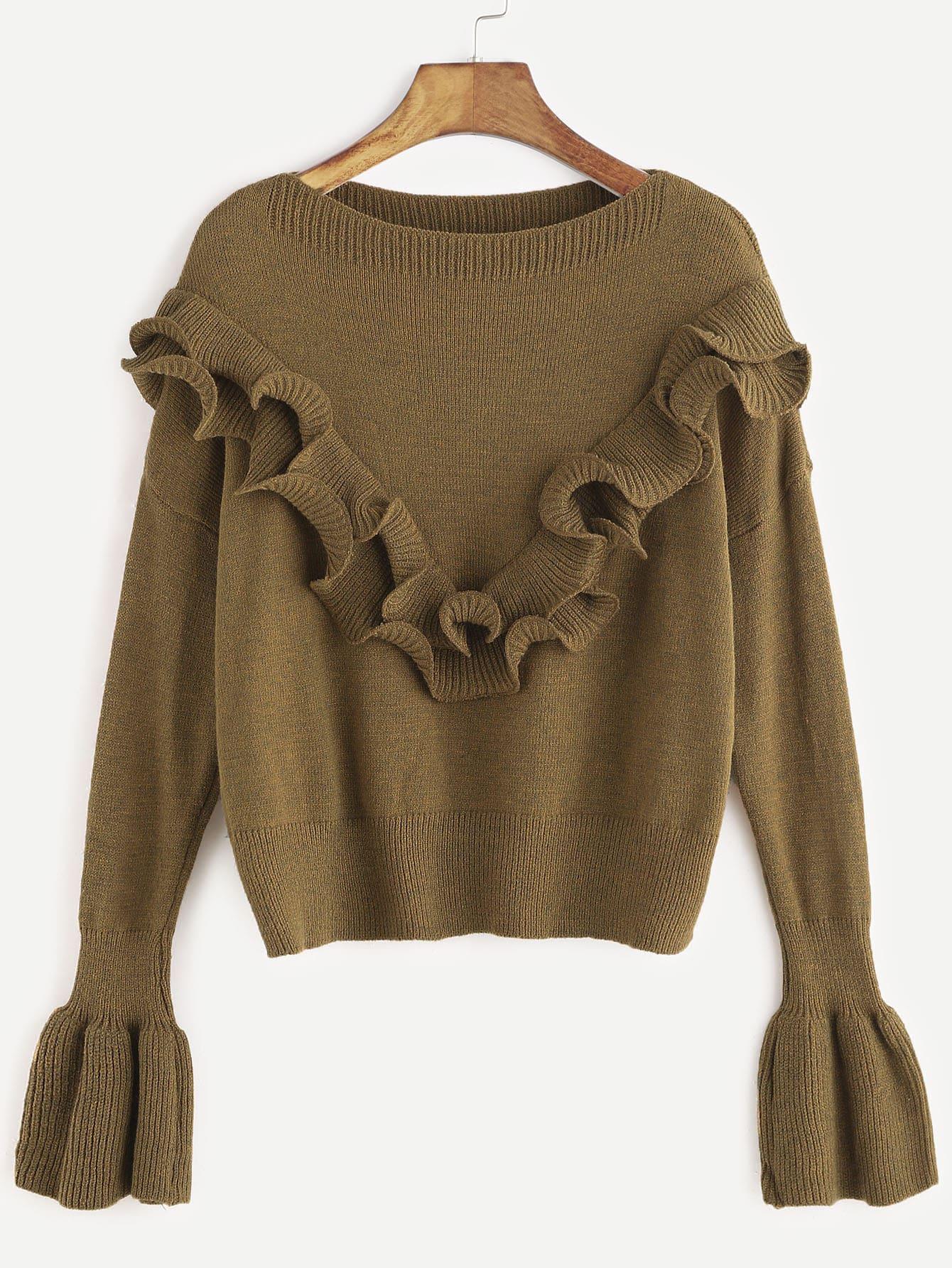 Khaki Drop Shoulder Bell Sleeve Ruffle Trim Sweater sweater161121103