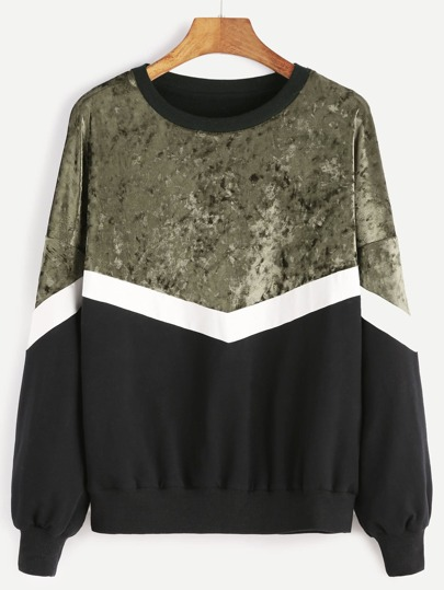 Drop Shoulder Mixed Media Sweatshirt