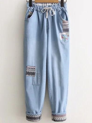 Roll Cuff Tribal Pattern Drawstring Denim Pants