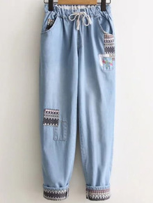 Denim Hosen Tribal Muster Tunnelzug-hell blau