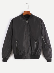 Black Zip Up Bomber Jacket With Arm Pocket