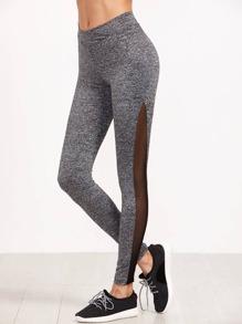 Knit Contrast Mesh Insert Leggings