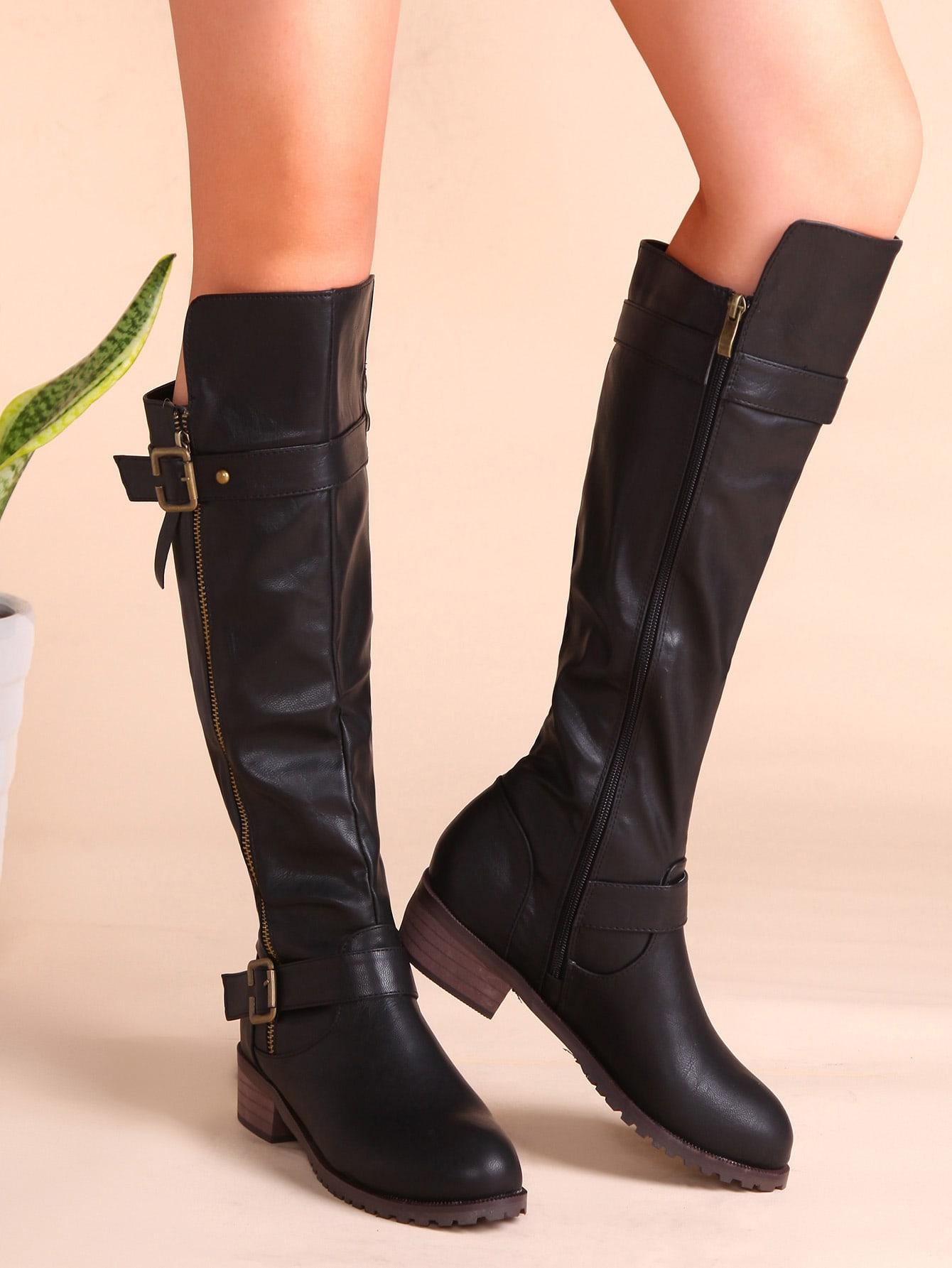 knie stiefel mit schnallen rei verschluss seitclich pu. Black Bedroom Furniture Sets. Home Design Ideas
