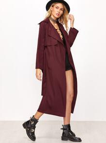 Burgundy Detachable Longline Wrap Coat