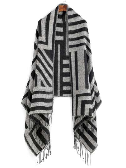 Black And Grey Stripe Fringe Edge Shawl Scarf