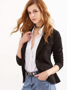 Black Suede Shawl Collar One Button Fitted Blazer