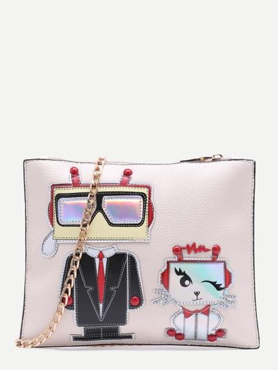 Cute Beige Cartoon Patch Clutch Bag With Chain Strap