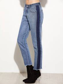 Blue Contrast Panel Frayed Hem Jeans