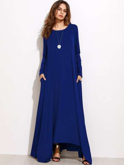 Shift Full Length Dress With Pockets